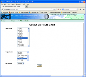 Web interface showing Input of Chart name, Output device and priority
